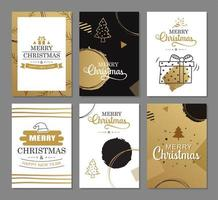 Merry christmas greeting cards with gold luxury decoration templates. Set of holiday posters, tag, banner, postcard design.