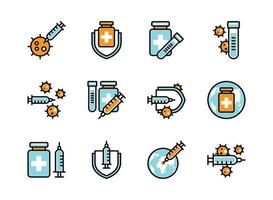 Covid-19 vaccine icon set colorline style. Sign and symbol for website, print, sticker, banner, poster.