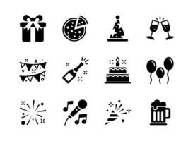 Party icon set glyph style. Symbols for website, print, magazine, app and design.