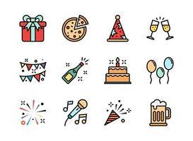 icono de fiesta establece estilo de línea de color. símbolos para sitio web, impresión, revista, aplicación y diseño.