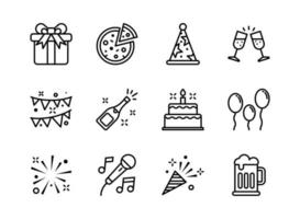Party icon set outline style. Symbols for website, print, magazine, app and design.