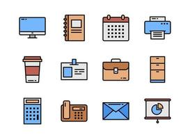 Office icon set colorline style. Symbols for website, magazine, app and design.