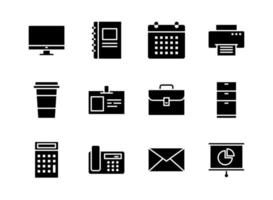 Office icon set solid style. Symbols for website, magazine, app and design.