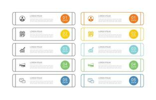 10 data business infographics template with thin line design
