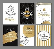 Merry christmas greeting cards with gold luxury decoration templates. Set of holiday posters, tag, banner, postcard design. vector