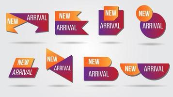 nueva colección de etiquetas de ilustración vectorial de llegada vector