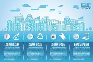 Infographic eco water blue design elements process 4 steps vector