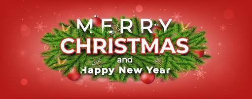 feliz navidad y próspero año nuevo banner con ramas de pino