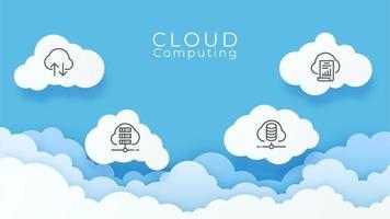Digital cloud computing technology background vector