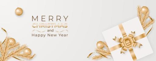 Merry Christmas and happy new year banner background vector