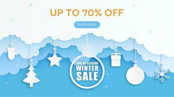 Winter Sale Banner Template Background with 3D Paper Arts and Crafts