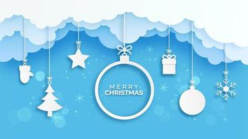 Merry Christmas banner with paper cut style ornaments vector