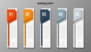 Business Infographic 5-step template banner vector