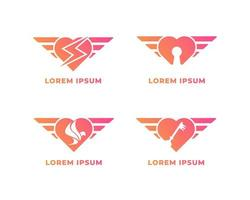 Winged Heart Logo With Icon Set vector