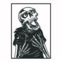 esqueleto gritando, blanco y negro vector