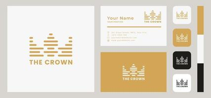 Line Gold Crown Business Card Template vector