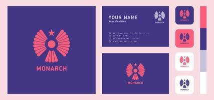 Star Headed Bird Business Card Template vector
