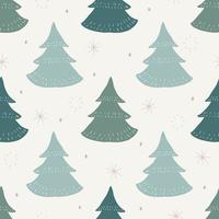 Seamless pattern background with green pine tree and snowflake vector