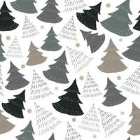 Seamless pattern background with doodle hand draw pine tree vector