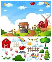 Farm scene with isolated cartoon character and objects vector