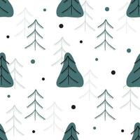 Seamless pattern background with doodle pine tree and snowflake vector