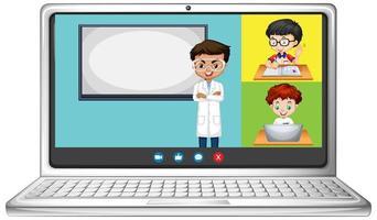 Pantalla de chat de video en línea del estudiante en la computadora portátil sobre fondo blanco vector