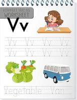 Alphabet tracing worksheet with letter V and v vector
