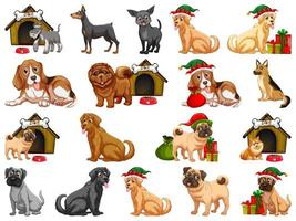 Different funny dogs in cartoon style isolated on white background vector