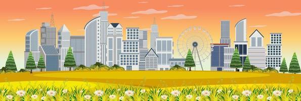 paisaje al aire libre con vista urbana desde el parque. vector