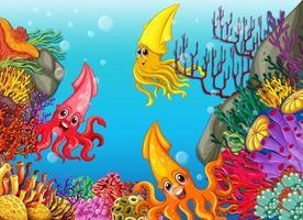 muchos personajes de dibujos animados de calamares diferentes en el fondo submarino vector