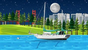 escena nocturna de río con un barco vector
