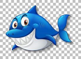 personaje de dibujos animados sonriente de tiburón vector