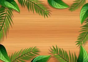 Vista superior de la mesa de madera en blanco con elementos de hojas vector
