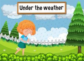 Modismo en inglés con descripción de la imagen para bajo el clima vector