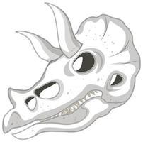 Triceratops skeleton on white background vector