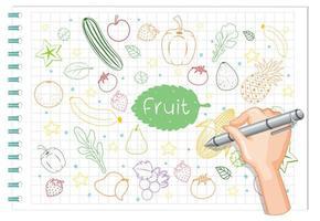 dibujo a mano alzada, elemento de fruta doodle en papel vector