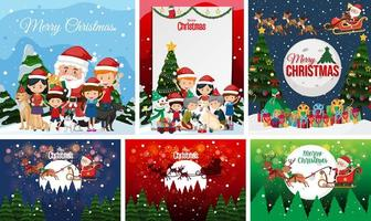 Set of blank Christmas postcard or poster isolated vector