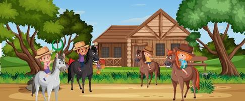 niños montando a caballo en la naturaleza vector