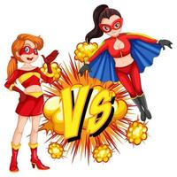 Two superheroes fighting each other vector
