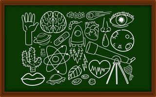 Diferentes trazos de doodle sobre equipos científicos en pizarra vector