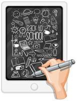 Hand drawing school element on tablet vector