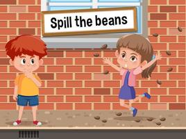 English idiom with picture description for spill the beans vector
