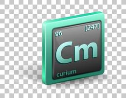 Curium chemical element. Chemical symbol with atomic number and atomic mass. vector