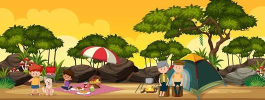 Family camping in the forest vector