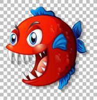 Exotic fish with big eyes cartoon character