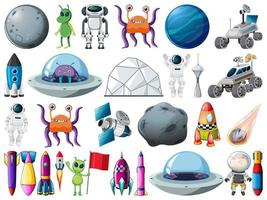 Set of space objects and elements isolated on white background vector