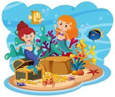 sirena en el mundo submarino vector