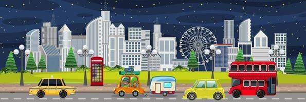 paisaje de la ciudad ocupada por la noche vector