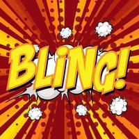 BLING wording comic speech bubble on burst vector