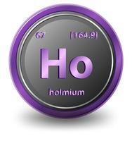 elemento químico holmio. símbolo químico con número atómico y masa atómica. vector